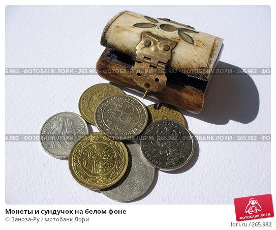 Монеты и сундучок на белом фоне, фото № 265982, снято 26 апреля 2008 г. (c) Заноза-Ру / Фотобанк Лори