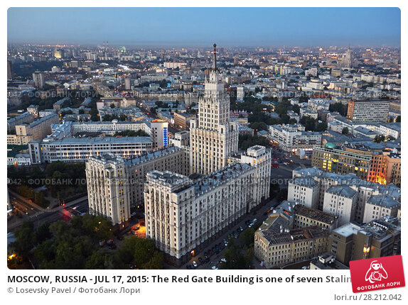 Купить «MOSCOW, RUSSIA - JUL 17, 2015: The Red Gate Building is one of seven Stalinist skyscrapers, designed by Alexey Dushkin», фото № 28212042, снято 17 июля 2015 г. (c) Losevsky Pavel / Фотобанк Лори