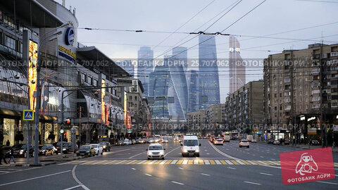 Купить «Moscow Views Of The Skyscrapers Business Center Moscow City», видеоролик № 25707062, снято 10 февраля 2017 г. (c) Владимир Ковальчук / Фотобанк Лори
