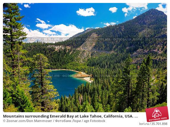 Mountains surrounding Emerald Bay at Lake Tahoe, California, USA. ... Стоковое фото, фотограф Zoonar.com/Don Mammoser / age Fotostock / Фотобанк Лори