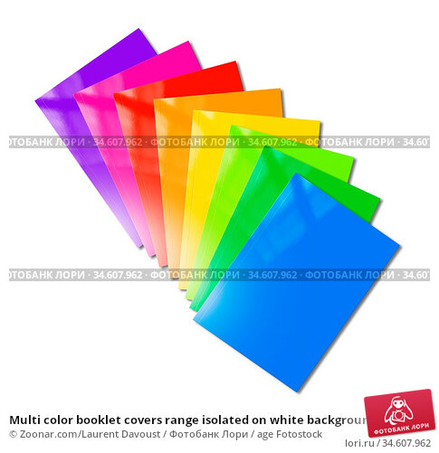 Multi color booklet covers range isolated on white background - mockup... Стоковое фото, фотограф Zoonar.com/Laurent Davoust / age Fotostock / Фотобанк Лори