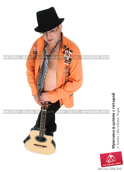 Мужчина в шляпе с гитарой, фото № 254310, снято 5 августа 2007 г. (c) hunta / Фотобанк Лори