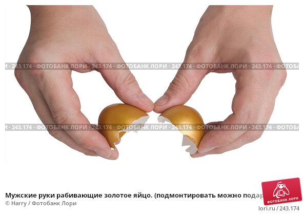 Мужские руки рабивающие золотое яйцо. (подмонтировать можно подарок, выпадающий из яйца), фото № 243174, снято 18 января 2017 г. (c) Harry / Фотобанк Лори