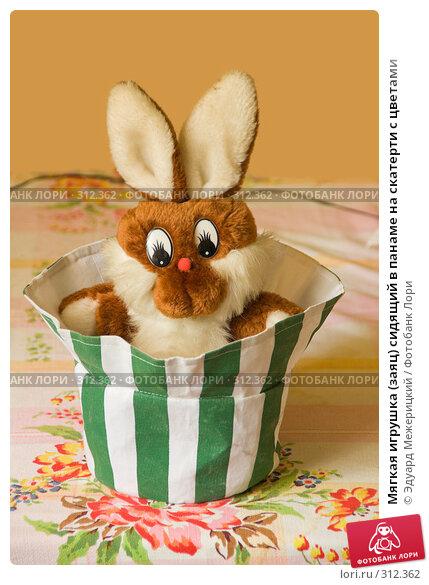 Мягкая игрушка (заяц) сидящий в панаме на скатерти с цветами, фото № 312362, снято 5 июня 2008 г. (c) Эдуард Межерицкий / Фотобанк Лори
