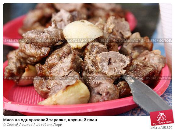 Мясо на одноразовой тарелке, крупный план, фото № 85370, снято 23 декабря 2007 г. (c) Сергей Лешков / Фотобанк Лори