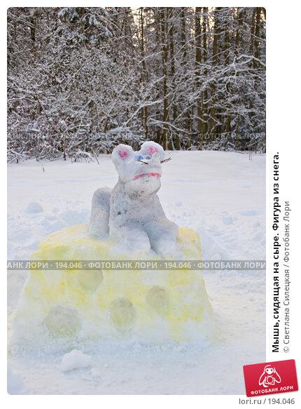Мышь,сидящая на сыре. Фигура из снега., фото № 194046, снято 4 февраля 2008 г. (c) Светлана Силецкая / Фотобанк Лори