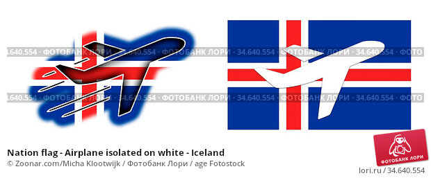 Nation flag - Airplane isolated on white - Iceland. Стоковое фото, фотограф Zoonar.com/Micha Klootwijk / age Fotostock / Фотобанк Лори