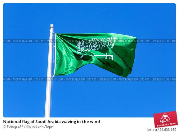 National flag of Saudi Arabia waving in the wind. Стоковое фото, фотограф FotograFF / Фотобанк Лори