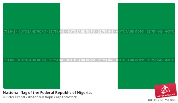 National flag of the Federal Republic of Nigeria. (2019 год). Редакционное фото, фотограф Peter Probst / age Fotostock / Фотобанк Лори