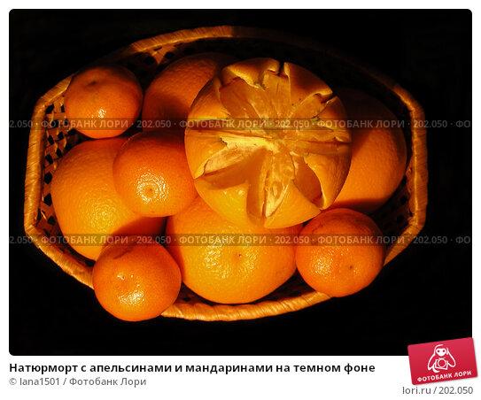 Натюрморт с апельсинами и мандаринами на темном фоне, эксклюзивное фото № 202050, снято 9 декабря 2007 г. (c) lana1501 / Фотобанк Лори