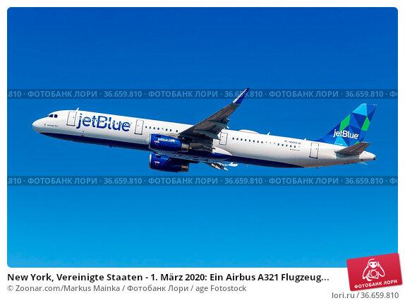 New York, Vereinigte Staaten - 1. März 2020: Ein Airbus A321 Flugzeug... Стоковое фото, фотограф Zoonar.com/Markus Mainka / age Fotostock / Фотобанк Лори
