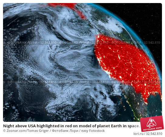 Купить «Night above USA highlighted in red on model of planet Earth in space. 3D illustration. Elements of this image furnished by NASA.», фото № 32542810, снято 9 декабря 2019 г. (c) easy Fotostock / Фотобанк Лори