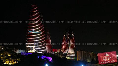 Купить «Night view of Baku Flame Towers, Azerbaijan», видеоролик № 30367898, снято 18 марта 2019 г. (c) Serg Zastavkin / Фотобанк Лори