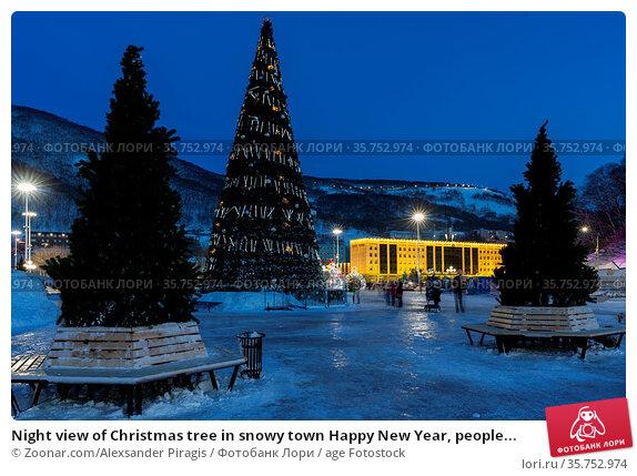 Night view of Christmas tree in snowy town Happy New Year, people... Стоковое фото, фотограф Zoonar.com/Alexsander Piragis / age Fotostock / Фотобанк Лори