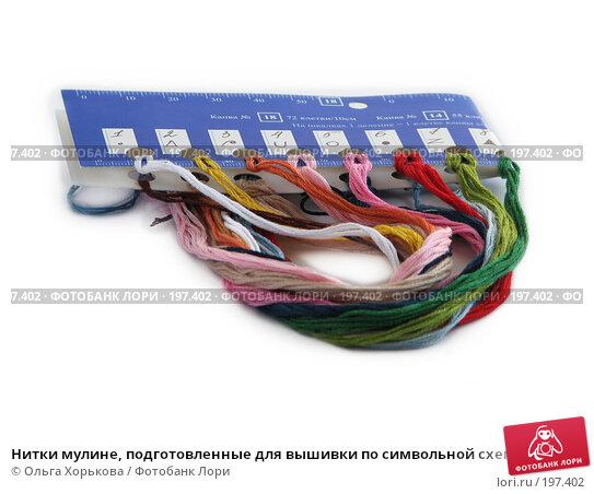 Купить «Нитки мулине, подготовленные для вышивки по символьной схеме», фото № 197402, снято 23 мая 2007 г. (c) Ольга Хорькова / Фотобанк Лори