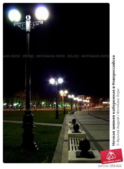 Купить «Ночная зимняя набережная в Новороссийске», фото № 255022, снято 29 марта 2008 г. (c) Фролов Андрей / Фотобанк Лори