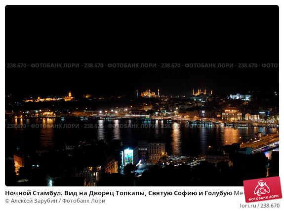 Ночной Стамбул. Вид на Дворец Топкапы, Святую Софию и Голубую Мечеть. Турция., фото № 238670, снято 24 апреля 2017 г. (c) Алексей Зарубин / Фотобанк Лори