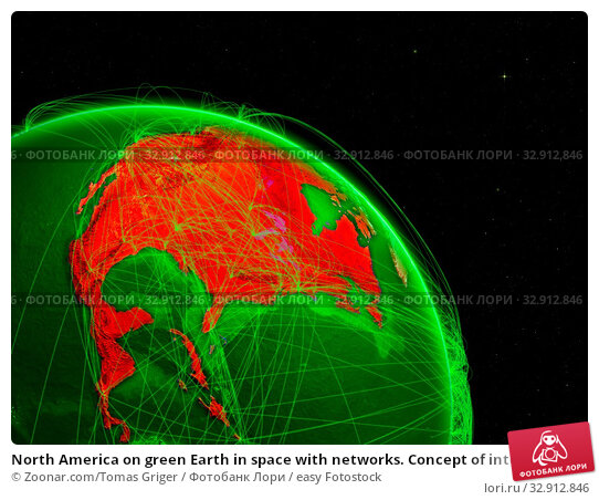 North America on green Earth in space with networks. Concept of intercontinental air traffic or telecommunications network. 3D illustration. Elements of this image furnished by NASA. Стоковое фото, фотограф Zoonar.com/Tomas Griger / easy Fotostock / Фотобанк Лори