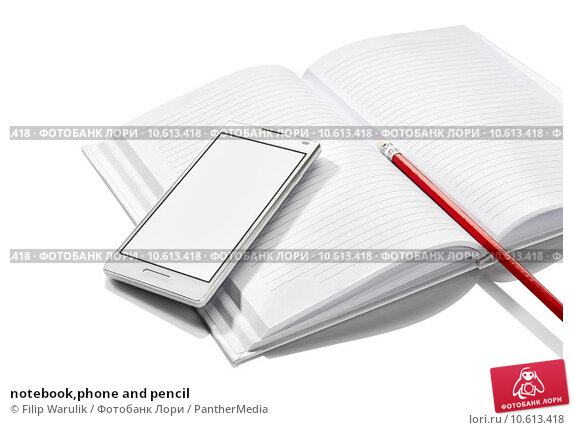 notebook,phone and pencil. Стоковое фото, фотограф Filip Warulik / PantherMedia / Фотобанк Лори