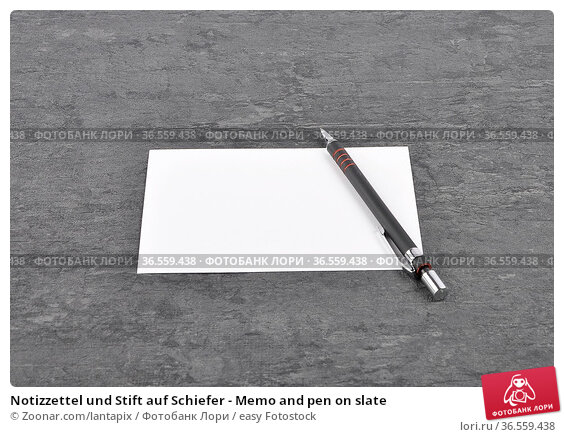 Notizzettel und Stift auf Schiefer - Memo and pen on slate. Стоковое фото, фотограф Zoonar.com/lantapix / easy Fotostock / Фотобанк Лори