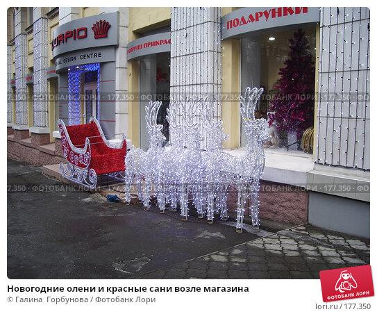 Новогодние олени и красные сани возле магазина, фото № 177350, снято 13 января 2007 г. (c) Галина  Горбунова / Фотобанк Лори