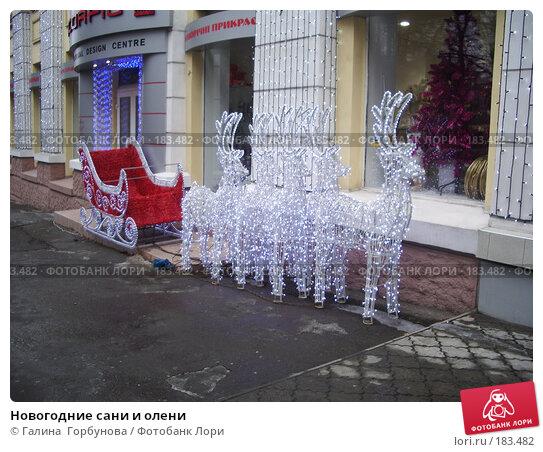 Новогодние сани и олени, фото № 183482, снято 13 января 2007 г. (c) Галина  Горбунова / Фотобанк Лори