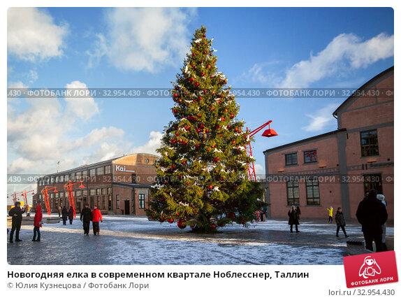 Новогодняя елка в современном квартале Ноблесснер, Таллин (2019 год). Редакционное фото, фотограф Юлия Кузнецова / Фотобанк Лори