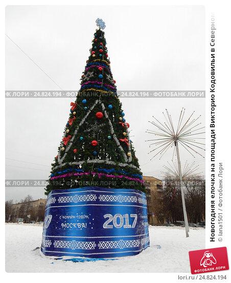 Новогодняя елочка на площади Викторио Кодовильи в Северном Измайлове в Москве, эксклюзивное фото № 24824194, снято 30 декабря 2016 г. (c) lana1501 / Фотобанк Лори