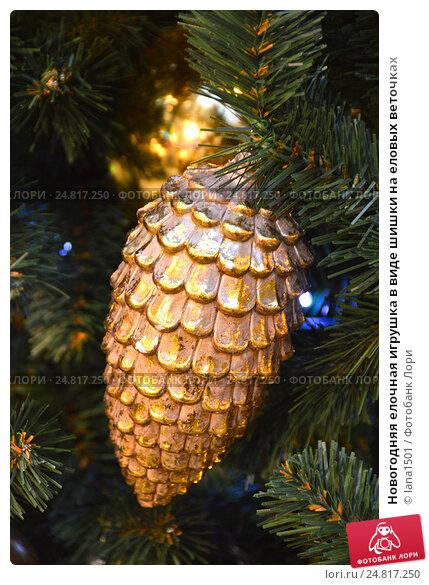 Купить «Новогодняя елочная игрушка в виде шишки на еловых веточках», эксклюзивное фото № 24817250, снято 30 ноября 2016 г. (c) lana1501 / Фотобанк Лори
