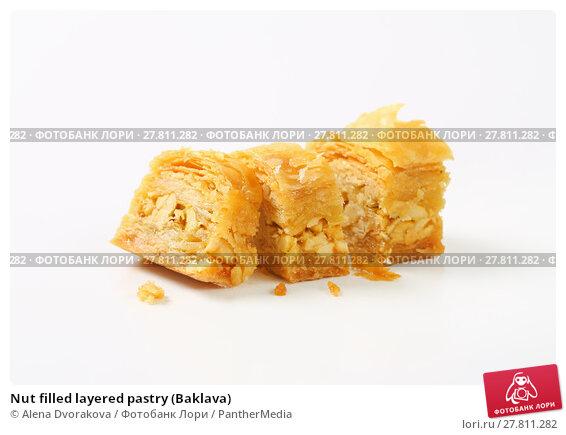 Купить «Nut filled layered pastry (Baklava)», фото № 27811282, снято 24 февраля 2018 г. (c) PantherMedia / Фотобанк Лори