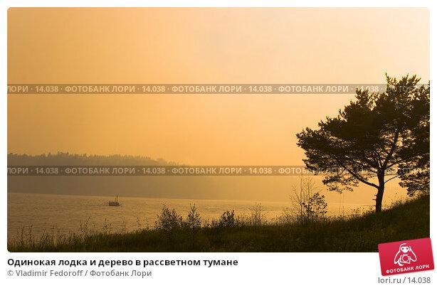 Одинокая лодка и дерево в рассветном тумане, фото № 14038, снято 13 июля 2006 г. (c) Vladimir Fedoroff / Фотобанк Лори