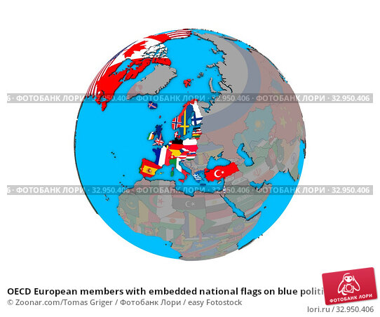 OECD European members with embedded national flags on blue political 3D globe. 3D illustration isolated on white background. Стоковое фото, фотограф Zoonar.com/Tomas Griger / easy Fotostock / Фотобанк Лори