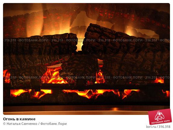 Огонь в камине, фото № 316318, снято 9 марта 2007 г. (c) Наталья Санченко / Фотобанк Лори