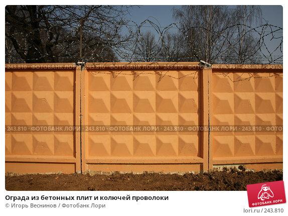 Купить «Ограда из бетонных плит и колючей проволоки», фото № 243810, снято 6 апреля 2008 г. (c) Игорь Веснинов / Фотобанк Лори