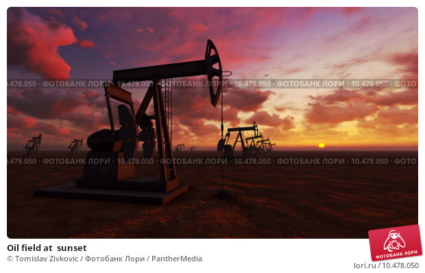 Купить «Oil field at  sunset», фото № 10478050, снято 17 сентября 2018 г. (c) PantherMedia / Фотобанк Лори