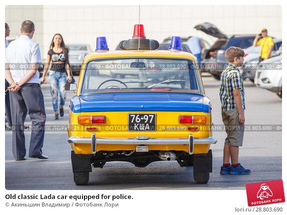 Купить «Old classic Lada car equipped for police.», фото № 28803690, снято 16 сентября 2017 г. (c) Акиньшин Владимир / Фотобанк Лори