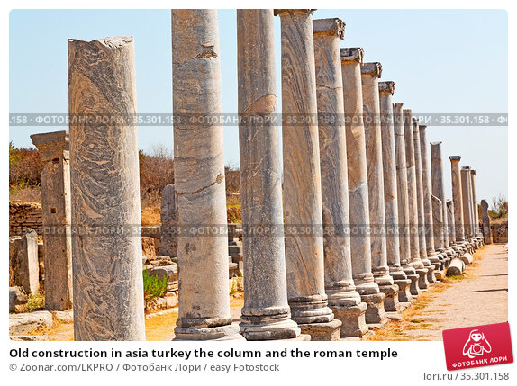 Old construction in asia turkey the column and the roman temple. Стоковое фото, фотограф Zoonar.com/LKPRO / easy Fotostock / Фотобанк Лори