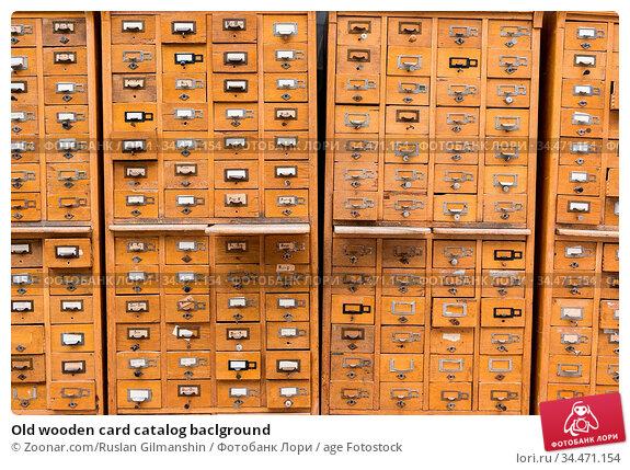 Old wooden card catalog baclground. Стоковое фото, фотограф Zoonar.com/Ruslan Gilmanshin / age Fotostock / Фотобанк Лори