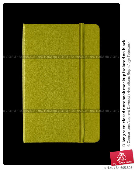 Olive green closed notebook mockup isolated on black. Стоковое фото, фотограф Zoonar.com/Laurent Davoust / age Fotostock / Фотобанк Лори