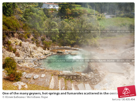 Купить «One of the many geysers, hot-springs and fumaroles scattered in the center of the village of Furnas, Sao Miguel Island, Azores», фото № 30435494, снято 6 мая 2012 г. (c) Юлия Бабкина / Фотобанк Лори