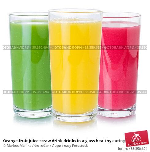 Orange fruit juice straw drink drinks in a glass healthy eating isolated... Стоковое фото, фотограф Markus Mainka / easy Fotostock / Фотобанк Лори