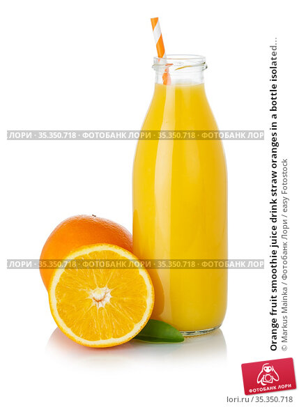 Orange fruit smoothie juice drink straw oranges in a bottle isolated... Стоковое фото, фотограф Markus Mainka / easy Fotostock / Фотобанк Лори