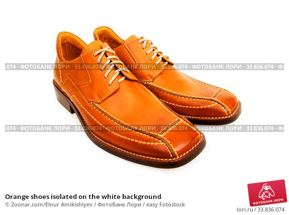 Купить «Orange shoes isolated on the white background», фото № 33836074, снято 1 июня 2020 г. (c) easy Fotostock / Фотобанк Лори
