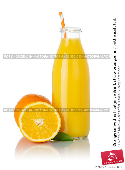 Orange smoothie fruit juice drink straw oranges in a bottle isolated... Стоковое фото, фотограф Markus Mainka / easy Fotostock / Фотобанк Лори