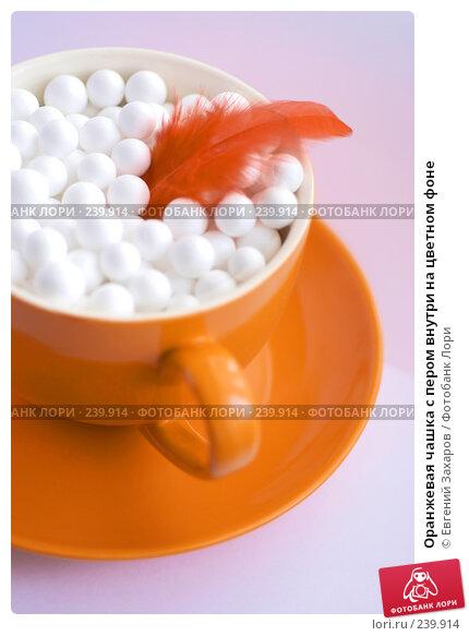 Оранжевая чашка с пером внутри на цветном фоне, фото № 239914, снято 1 марта 2008 г. (c) Евгений Захаров / Фотобанк Лори