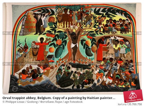 Orval trappist abbey, Belgium. Copy of a painting by Haitian painter... Стоковое фото, фотограф Philippe Lissac / Godong / age Fotostock / Фотобанк Лори