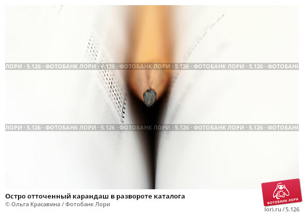Купить «Остро отточенный карандаш в развороте каталога », фото № 5126, снято 15 июня 2006 г. (c) Ольга Красавина / Фотобанк Лори