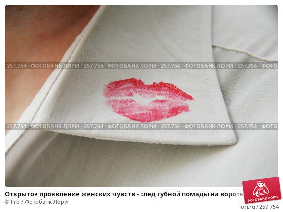 Купить «Открытое проявление женских чувств - след губной помады на воротничке мужской рубашки», фото № 257754, снято 19 апреля 2008 г. (c) Fro / Фотобанк Лори