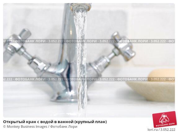 Открытый кран с водой в ванной (крупный план), фото № 3052222, снято 19 июля 2007 г. (c) Monkey Business Images / Фотобанк Лори