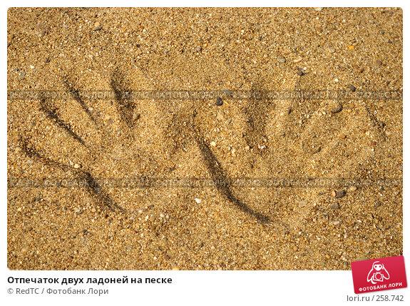 Отпечаток двух ладоней на песке, фото № 258742, снято 21 апреля 2008 г. (c) RedTC / Фотобанк Лори